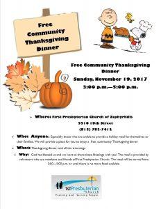 Free Thanksgiving Dinner @ 1st Presbyterian Church - Fellowship Hall | Zephyrhills | Florida | United States